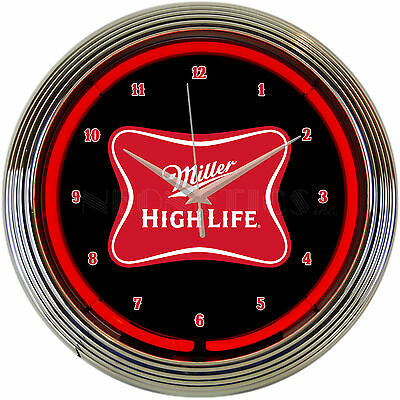 New Miller High Life Ruby red neon clock sign wall lamp light Bar Beer time lite