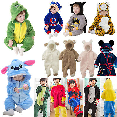 Toddler Kids Animal Kigurumi Bath Robe Hoodie Pajamas Sleepwear Cosplay Costumes