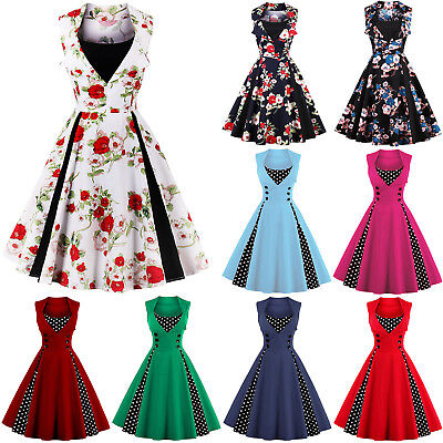 Womens 50s 60s Vintage Rockabilly Pinup Swing Floral Retro Party Formal Dress AU