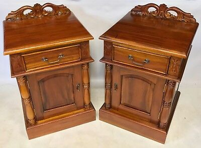 Antique Victorian Style Pair Mahogany Pot Cupboard Stand Bedside Cabinet Table