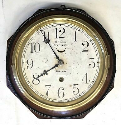 Antique Oak And Brass H Giles Oswestry Waterbury USA Wall Clock Octagonal