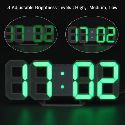 Moderne Design Wanduhr 3D LED Digital Wanduhr Wall Clock Uhr Alarm Snooze  Grün
