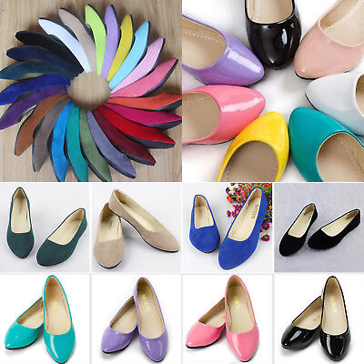 Women Ballerina Ballet Dolly Pump Flats Loafers Slip On Boat Shoes Size 3.5-8.5