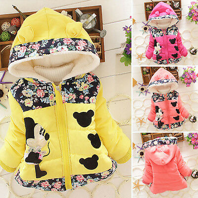 Baby Girls Minnie Mouse Hooded Coat Jacket Winter Warm Hoodies Zipper Outwear AU