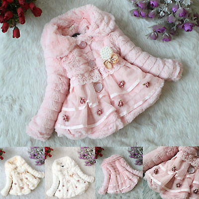 Toddlers Kids Baby Girls Faux Fur Fleece Coat Winter Warm Fluffy Jacket Parka AU