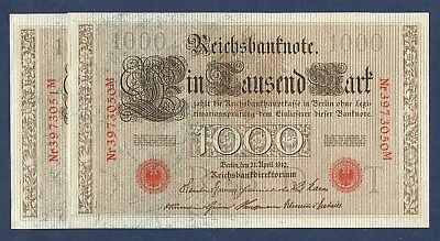 [AN] Germany LOT 2 x 1000 Mark WWI 1910 Red Seal P44b Consecutive Pair UNC-