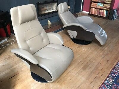 Excellent Two 2 Rochebobois Roche Bobois Reclining Swivel Armchairs Cjindustries Chair Design For Home Cjindustriesco