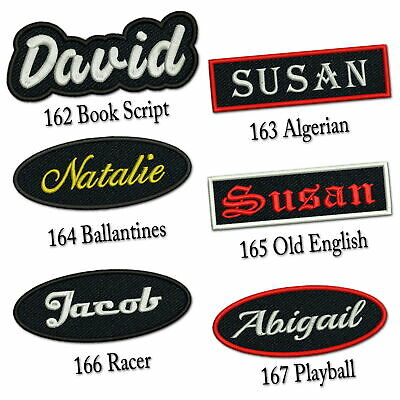 """Personalized Embroidered Name Patch 4""""-5"""" Iron on Tag Rectangular Oval Freehand"""