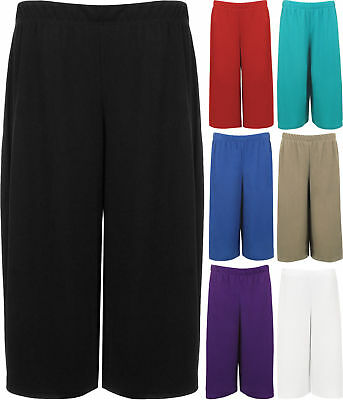Plus Women/'s Floral Printed Summer Stretchy Culottes Short Trousers Ladies 12-30