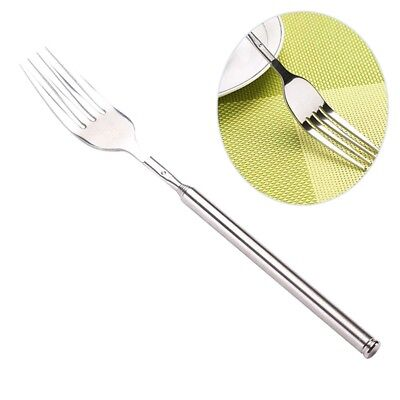 Telescopic Extendable Long Handle Fork Stainless Steel Cutlery Kitchen Tool UK