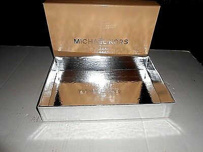 EMPTY Michael Kors  12 BY 8.5 Box W/ Lid Storage Cardboard VERY NICE SILVER BOTT