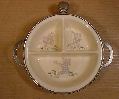 """Vintage 1940s Little Boy Blue """"Excello"""" Chromium Water Heated Baby Food Dish"""