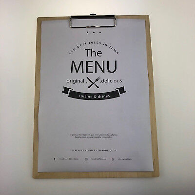 Menu Clipboard Birch Plywood Customisable Wooden