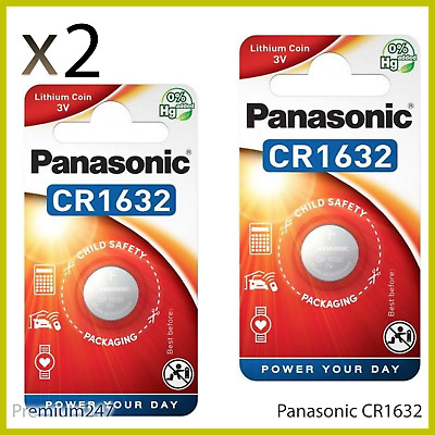 2 x Panasonic CR1632 3V Lithium Coin Cell Battery 1632 DL1632 BR1632 Longest EXP