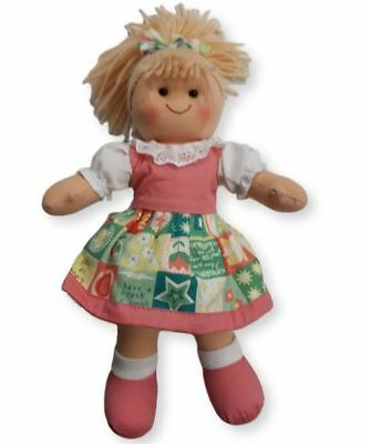 Lovely Soft Rag Doll Hannah Dressed with a Pink Dress Girl Dolly 25cm New