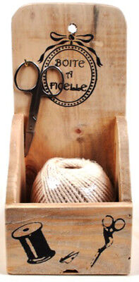 Country French Vintage Inspired Wooden String Holder including Jute New
