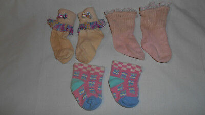 vintage baby girl socks pink 3 pair - sizes range from 0-3 to 12-18 months