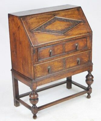 Antique Art Deco  Carved Oak Bureau Desk  - FREE DELIVERY [PL1927]