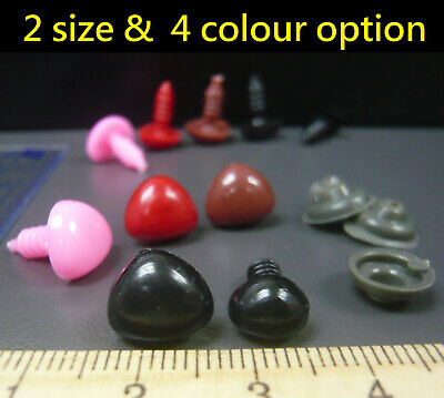 Teddy Bear Triangular noses & shank washers DIY toy making choice of color & qty