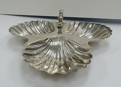 Fancy Gorham Sterling Black Starr & Frost 3 Holder Shell Candy Tray A3475