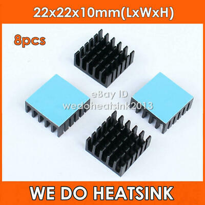 8pcs 22x22x10mm Aluminum Heatsink With Blue Thermal Adhesive Heat Transfer Tape