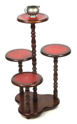 Vintage Mahogany 4 Tier Leather Top Plant Display Stand - FREE Shipping [PL4450]