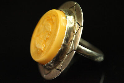 NATURAL OLD Antique 10.7g Butterscotch Egg Yolk Baltic Amber Stone RING B250