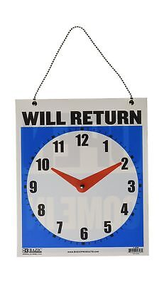 """BAZIC 7.5""""x9"""" """"WILL RETURN"""" Clock Sign w/ """"OPEN"""" sign on back (Case of 24)"""