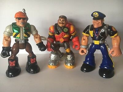 3 Mattel Rescue Hero Figures Toys Fireman Policeman Construction Worker Chunky