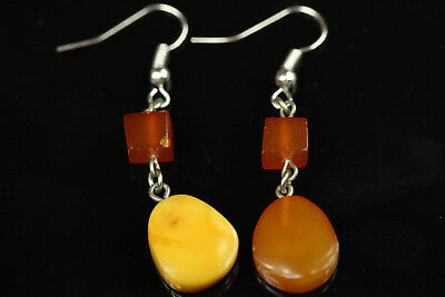 NATURAL OLD Antique 3g Butterscotch Egg Yolk Baltic Amber Stone EARRINGS B260