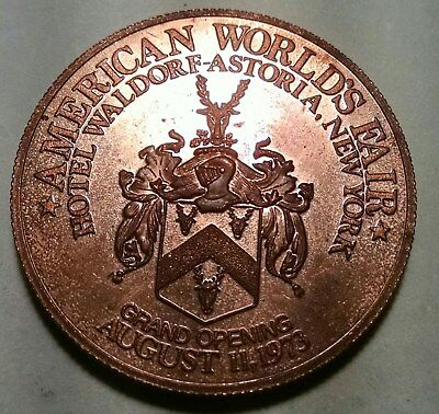 American World's Fair Waldorf Astoria Hotel Grand Opening New York NY Medal