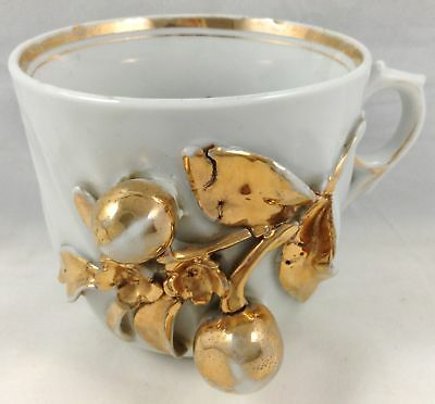 Antique Shaving Mug Coffee Cup Heavy Gold 3D Cherries Leaves Blossoms Germany