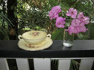 Crown Ducal Soup Coupe / Bowl And Saucer ' Florentine'  Pattern