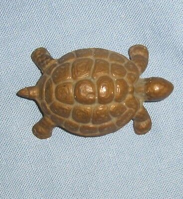 "Vintage heavy brass Turtle Figurine Paper Weight preowned 2.5"" length vg gd cond"