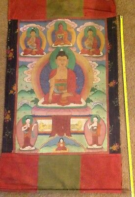 "RARE!!! NEPAL!! THANGKA PAINTING ABOUT 50 YEARS OLD.SIZE:26""x17"""