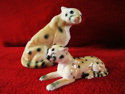Set Of 2 Vintage Bone China Miniature Leopard Cheetah Figurines * Glossy