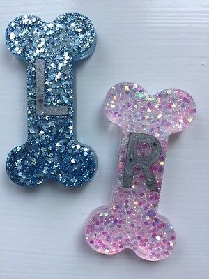 Bone Shape Glitter Radiography X-Ray Markers - L&R - choose your own initials.
