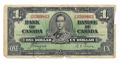 1937 Bank of Canada One Dollar Note - Coyne - Towers Signatures