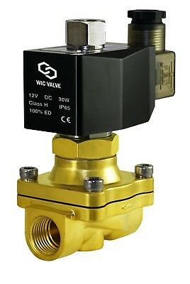 """Normally Open Brass Zero Differential Electric Solenoid Valve 1/2"""" Inch 12V DC"""