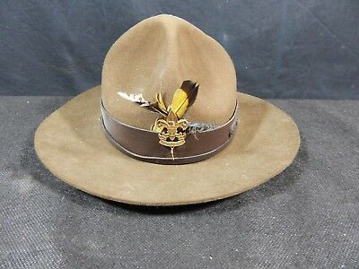 Vintage  BSA Official Boy Scouts Leader Campaign Hat Oval W/ BADGE ON FRONT
