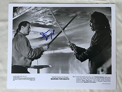 """Steven Seagal Autographed 8x10 B/W Movie Photograph from """"Marked For Death"""""""