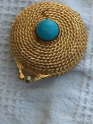 Estee Lauder collectible solid perfume compact (empty) - Gold coiled rope