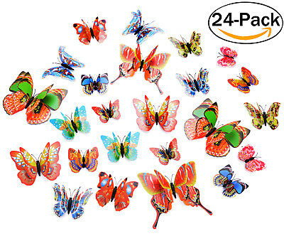 24PCS Fridge Magnets Butterfly Cartoon Kitchen Magnets for Kitchen Office School