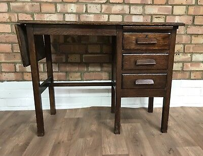 Vintage Industrial Look Dark Wood 3 Drawer Drop Leaf Desk 50's 60's