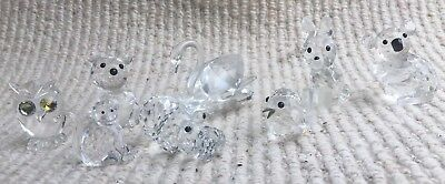 8 Swarovski Crystal Animals 6 Good 2 minor damage see description
