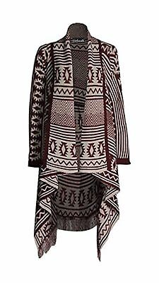 b2819bb0688 LADIES WATERFALL AZTEC Tribal Drape Kimono Tassel Cardigan Shawl Knitted  Fabric
