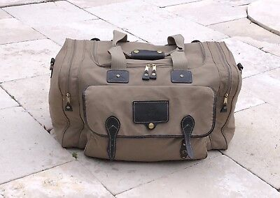 Vintage Eddie Bauer Ford Carry On Duffel Bag Travel Luggage Tan Canvas  Leather f1bcd54f228a5