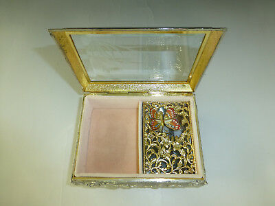 Vintage Enamel Butterfly Automaton Music Box Jewelry Box (Watch The Video)