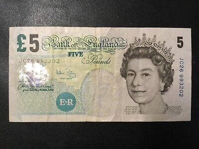 1990 Great Britain Paper Money - 5 Pounds Banknote!