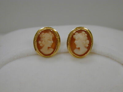 Fines Estate 18K Yellow Gold Oval Carved Cameo Earrings~Post Backs~Vintage